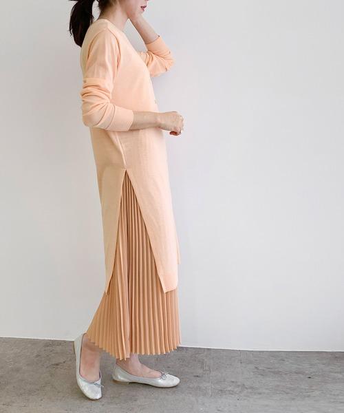 ROPE' mademoiselle(ロペマドモアゼル)の「【セットアップ】プリーツスカート×ニットワンピース(ワンピース)」|ピンク