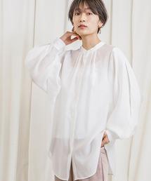 上品な透け感2wayボリュームスリーブシアーシャツオフホワイト