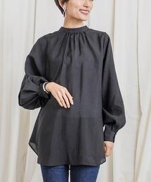 上品な透け感2wayボリュームスリーブシアーシャツブラック