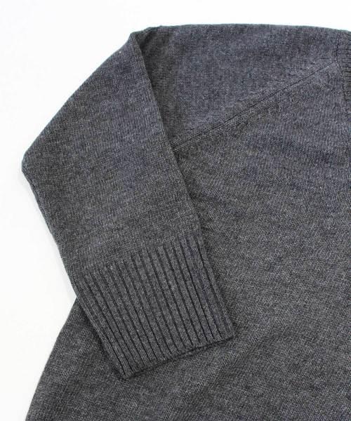 ウール混Vネックリブニット トップス セーター 無地 シンプル