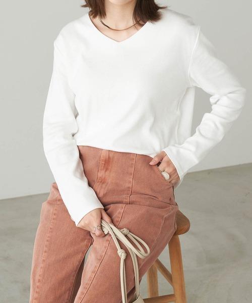 綿フライスVネックロンT/長袖カットソー/Tシャツ