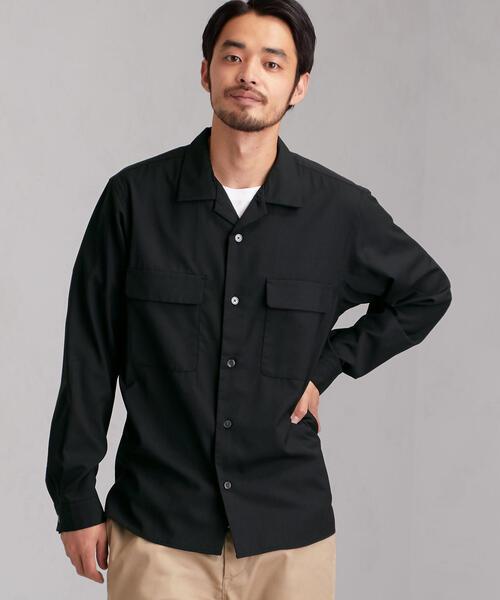 CM T/Wトロ ダブルパッチオープンカラー 長袖シャツ<機能性生地 / ストレッチ・ウォッシャブル>