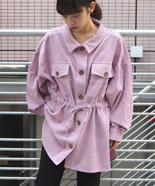 tiptop(ティップトップ)の「ウェストドロストコーデュロイシャツ(シャツ/ブラウス)」|ピンク