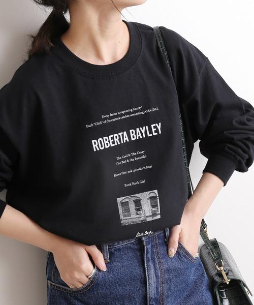 SLOBE IENA(スローブイエナ)の「Roberta bayley グラフィックロンTEE【洗濯機使用可能】◆(Tシャツ/カットソー)」|ブラック