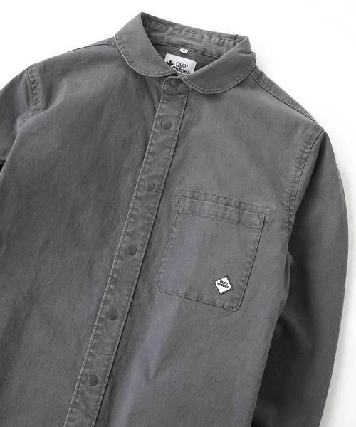 ストレッチヘリンボーン スナップボタンシャツ