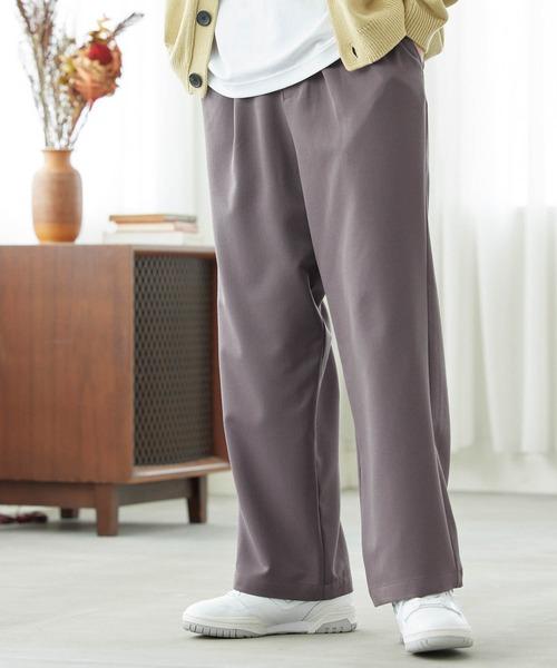 TRストレッチ スーツ地 タックワイドパンツ/セットアップ可