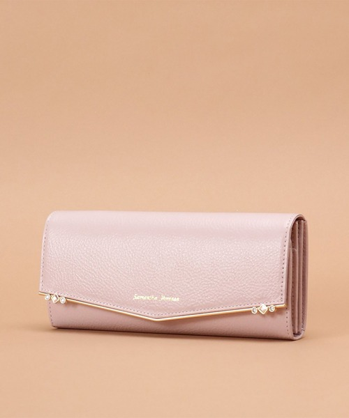 Samantha Thavasa(サマンサタバサ)の「ストーンバー 長財布【3年保証対象】(財布)」|ピンク