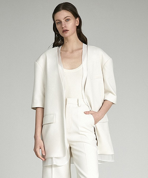 【UNSPOKEN】Sheer layered jacket UX21W017