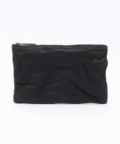 PATRICK STEPHAN(パトリックステファン)の「Leather-washed pochette S 'shine' ポーチ(ポーチ)」 ブラック×ブラック