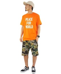 DOUBLE STEAL(ダブルスティール)のPEACE FOR WORLD Tシャツ(Tシャツ/カットソー)