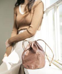 UNE MANSION(ユヌマンション)のフェイクレザーミニ巾着バッグ(ハンドバッグ)