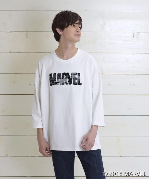 3e3a7ae7afcbd MARVEL マーベル 迷彩サガラ刺繍七分袖Tシャツ(その他トップス ...