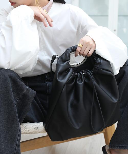 【chuclla】Silver handle 2way gather bag cha185