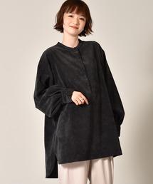 クルミ釦コーデュロイシャツブラック
