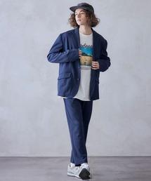 【セットアップ】ジョーゼットストレッチ シングル 2Bテーラードジャケット&トラウザーズパンツネイビー