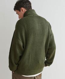 オーバーサイズ タートルネックプルオーバー ニット セーター(アゼ/ミラノリブ/シャギー)グリーン系その他