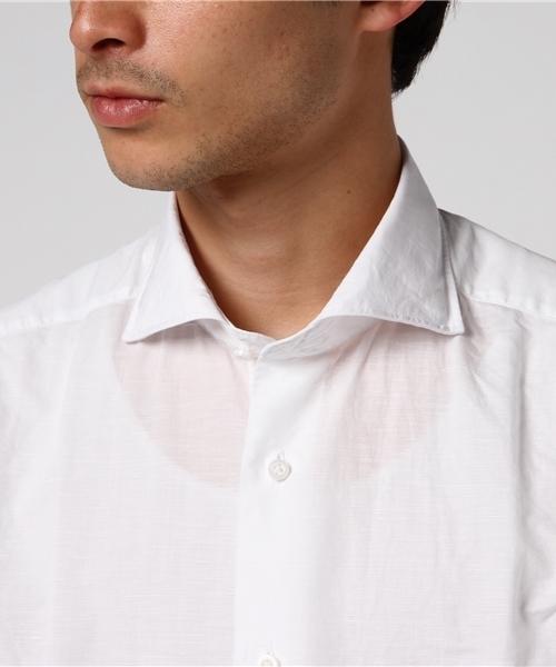 ◇ANTONIO LAVERDA ホワイトレーベル◇リネンブレンド ホリゾンタルカラー半袖シャツ