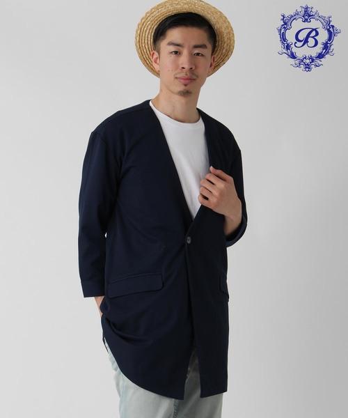 【BURNER SELECT】TR ストレッチ ノーカラーロングジャケット 8分袖