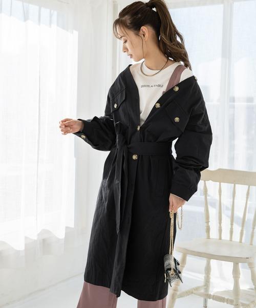 mysty woman(ミスティウーマン)の「Vネックシャツコート 868060(トレンチコート)」|ブラック