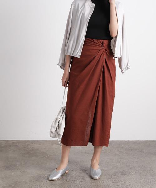 ViS(ビス)の「ウエストツイストタイトスカート(スカート)」|ダークブラウン