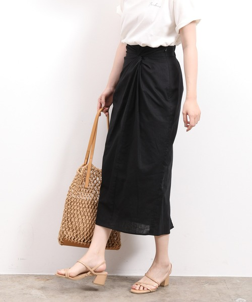 ViS(ビス)の「ウエストツイストタイトスカート(スカート)」 ブラック