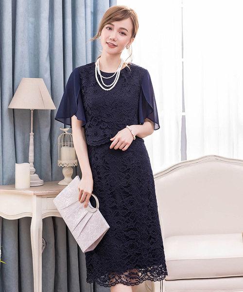 DRESS STAR(ドレス スター)の「結婚式・お呼ばれ対応セットアップ風デザインフリルスリーブレースパーティドレス(ドレス)」|ネイビー