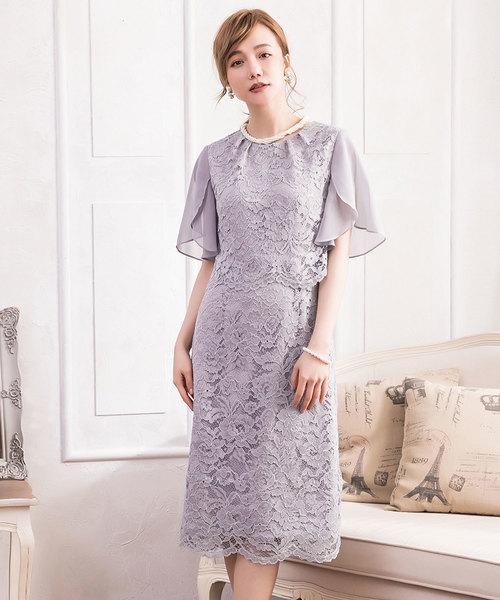 9633d0ee9bbe7 DRESS STAR(ドレス スター)の「セットアップ風デザインフリルスリーブレースパーティドレス