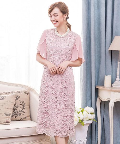 b98df25a5ccab DRESS STAR(ドレス スター)のセットアップ風デザインフリルスリーブレースパーティドレス(