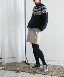 FIL DE FER(フィルデフェール)の【Fabric in Italy】ループヘリンボーン ミニスカート(スカート)