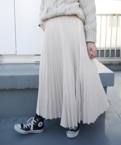 CORNERS(コーナーズ)の「フェイクスエードプリーツロングスカート(スカート)」|ベージュ