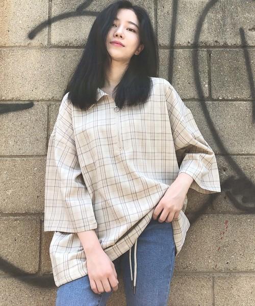 【BASQUE -enthusiastic design-】ハーフジップチェック柄プルオーバーシャツ