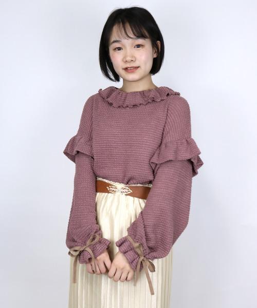 ParAvion + Petit Standard(パラビオンスタンダードプチ)の「袖リボントップス(Tシャツ/カットソー)」|ピンク