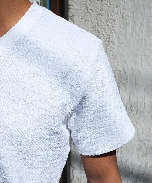 ランダムツイスト半袖VネックTシャツ/カットソー