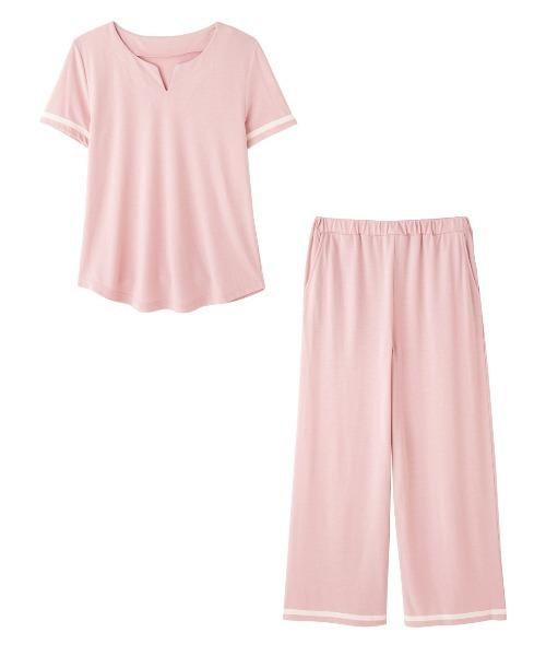 PEACH JOHN(ピーチジョン)の「バイカラーラインパジャマ(ルームウェア/パジャマ)」|ピンク