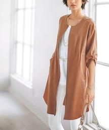 39959c565e437 BELLUNA(ベルーナ)の「綿レーヨン麻素材ジッパー使いジャケット(ブルゾン)