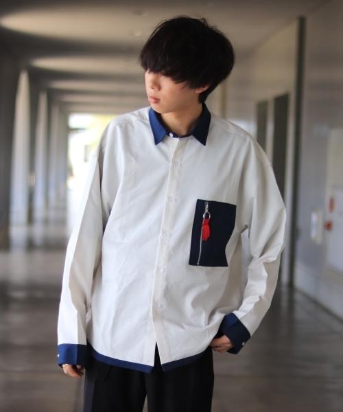 ファッションインフルエンサー ぼーん × INTER FACTORY ポケットリングジップオーバーバルーンシャツ
