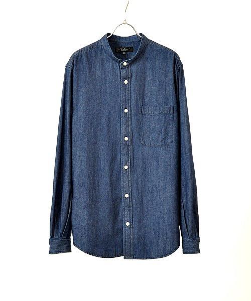 UP START(アップスタート)の「6.5オンスデニムバンドカラーシャツ(シャツ/ブラウス)」|ワンウォッシュ