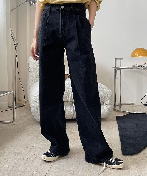 【chuclla】【2021/AW】High waiste straight black jeans chw21a042