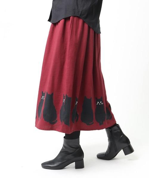【 LITTLE MARKET / リトルマーケット 】 裾猫スカート ネコ ねこ 猫 アニマル柄 CAT FRH