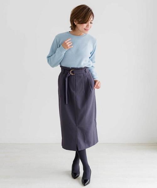 ZAKKA-BOX(ザッカボックス)の「ウエストベルトタイトスカート(スカート)」|ダークグレー