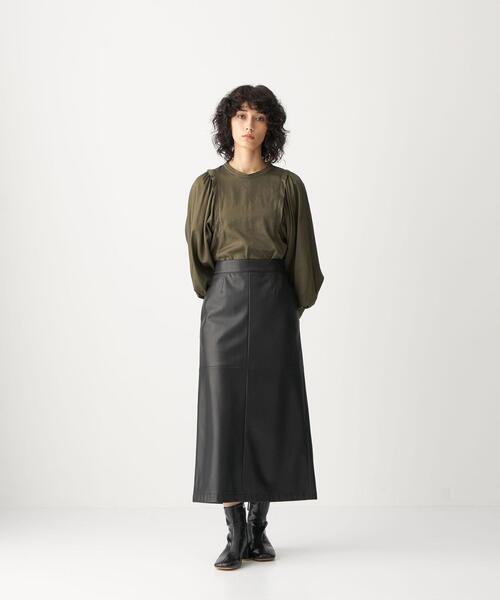 <CITEN(シテン)> フェイクレザー ナロー フレア スカート