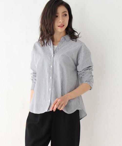 grove(グローブ)の「【洗える】防シワタンクトップ付きスキッパーシャツ(シャツ/ブラウス)」|ブラック系1
