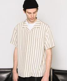 【WEB限定】 by ストライププリント オープンカラー シャツ