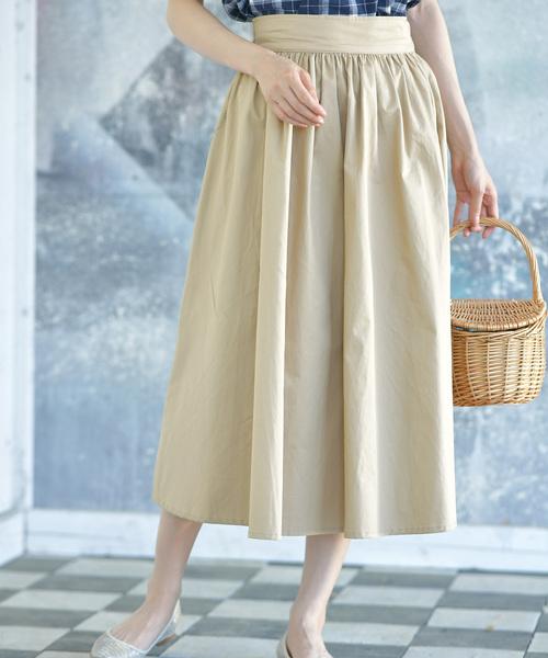 rps(アールピーエス)の「たっぷりフレアーコットンスカート(スカート)」|ライトベージュ