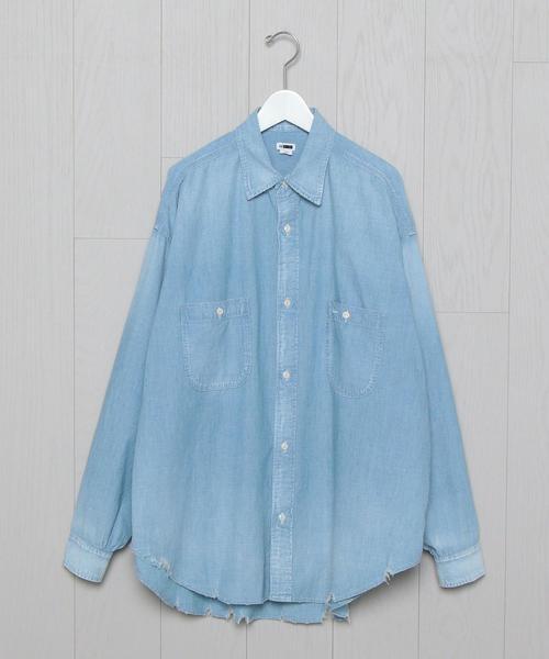 <H>CHAMBRAY WORK SHIRT/シャツ