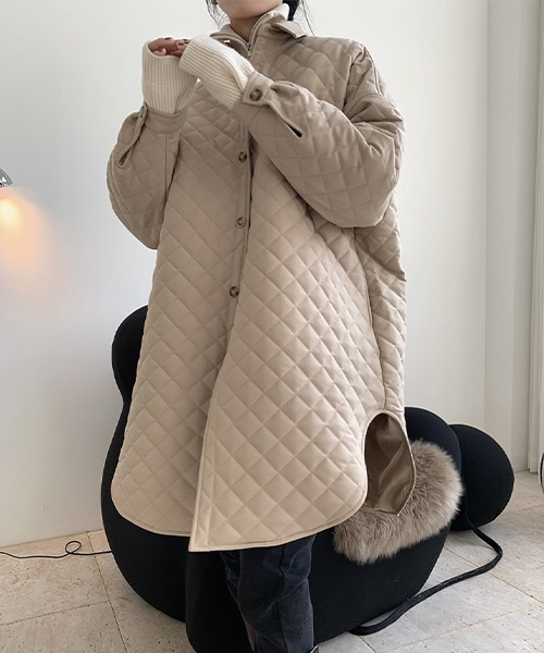 【chuclla】【2021AW】Rhombus quilted shirt jacket chw21a045