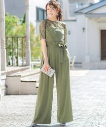 bd92ed65a60af パンツドレス(パンツドレス)の「レースブラウス ベアトップジャンプスーツの