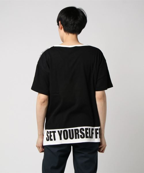 【A.T,C in the attic homme】袖ライン厚盛ロゴTシャツ