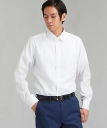 スリム E/I マイクロヘリンボーン ショートワイドカラー ドレスシャツ<機能性 / イージーアイロン>