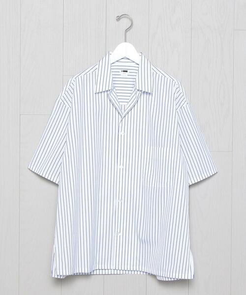 <H>THOMAS MASON OPEN COLLAR SHORT SLEEVE SHIRT/シャツ